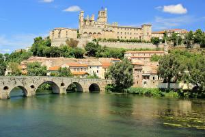 Bilder Frankreich Fluss Brücken Kathedrale Bezier, river Orb, Saint-Nazaire Städte