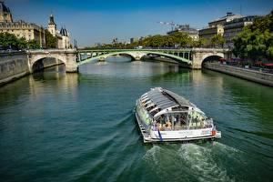 Hintergrundbilder Frankreich Flusse Brücken Binnenschiff Paris river Seine Städte