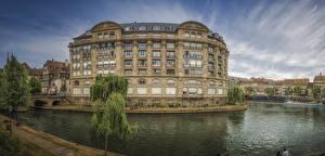 Hintergrundbilder Frankreich Straßburg Haus Flusse Bootssteg