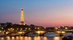 Hintergrundbilder Frankreich Sonnenaufgänge und Sonnenuntergänge Brücken Fluss Eiffelturm Türme Paris river Seine