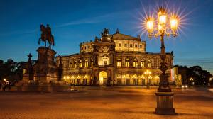 Picture Germany Evening Dresden Street lights Street Cities