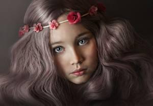 Fonds d'écran Voir Mignon Belle Châtain clair Cheveux Visage Petites filles Enfants