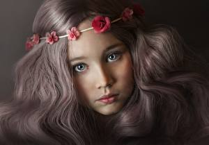 Wallpaper Glance Cute Beautiful Dark Blonde Hair Face Little girls Children
