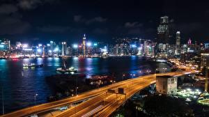Fotos Hongkong Nacht Bucht Megalopolis Städte