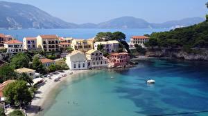 Bilder Gebäude Motorboot Griechenland Bucht Kefalonia Städte