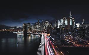 Pictures Houses Roads USA Coast Night New York City Manhattan Cities