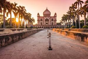 Pictures India Sunrise and sunset Palm trees tomb of safdarjung, Delhi, mausoleum Cities