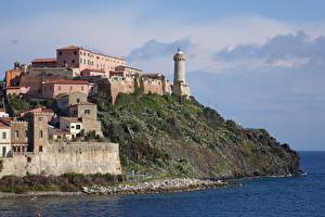 Hintergrundbilder Insel Leuchtturm Italien Portoferraio, Island Of Elba, Tuscan archipelago Städte