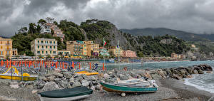 Images Italy Houses Coast Boats Crag Beach Monterosso