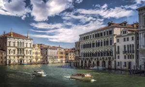 Image Italy Building Speedboat Berth Venice Canal