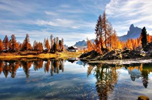Photo Italy Lake Autumn Alps Trees Dolomites