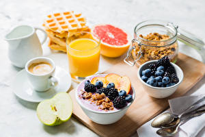 Pictures Juice Coffee Berry Muesli Apples Blackberry Breakfast Highball glass Cup Food