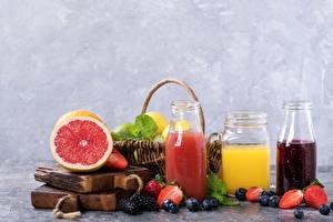 Image Juice Grapefruit Berry Blueberries Jar
