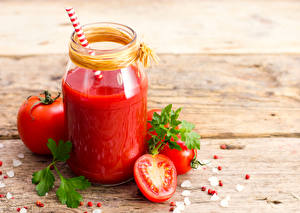 Hintergrundbilder Fruchtsaft Tomaten Bretter Weckglas das Essen