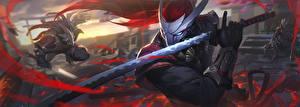 Hintergrundbilder Katana Krieger LOL Schwert Yasuo Spiele