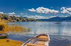 Wallpapers Lake Boats Scenery Germany Clouds Bavaria Lake Chiemsee, Chiemgau Nature