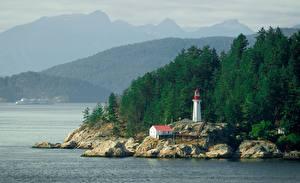 Hintergrundbilder Leuchtturm Kanada Felsen British Columbia Natur