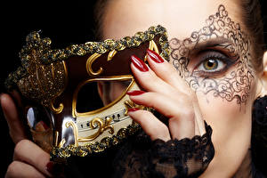 Images Masks Eyes Fingers Manicure Girls