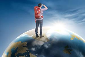 Bilder Mann Rucksack Erde Reisender Tourismus