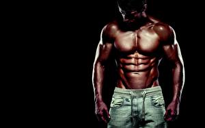 Pictures Man Bodybuilding Beautiful Belly Muscle Black background
