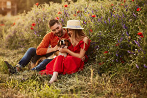 Pictures Man Dogs 2 Sitting Hat Frock Smile female