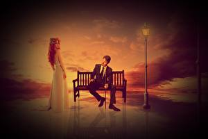 Desktop wallpapers Man Lantern Bench Two Sitting Redhead girl Dress Suit Girls