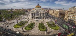 Desktop hintergrundbilder Mexiko Haus Platz Straße Von oben Mexico City Städte