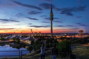 Images Munich Germany Sunrises and sunsets Parks Tower Olympic Park Cities