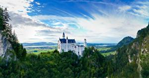 Images Neuschwanstein Mountain Forest Castle Germany Rock Bavaria Cities