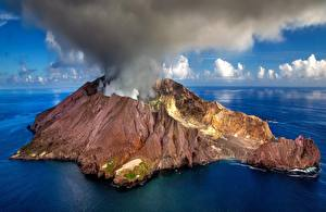 Pictures New Zealand Island Volcano Smoke White Island