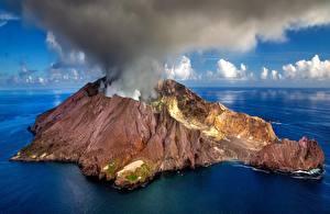 Bureaubladachtergronden Nieuw-Zeeland Eiland Vulkaan Rook White Island Natuur