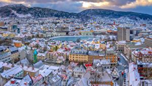 Fondos de Pantalla Noruega Casa Montañas Oslo Tejado Desde arriba