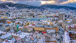 Hintergrundbilder Norwegen Haus Gebirge Oslo Dach Von oben Städte