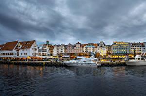 Fondos de Pantalla Noruega Casa Ríos Amarradero Yate Bergen