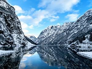 Fondos de Pantalla Noruega Ríos Acantilado Nieve Fjord Naturaleza
