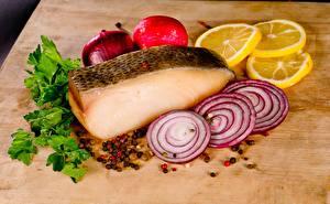 Pictures Onion Lemons Fish - Food Seasoning Sliced food