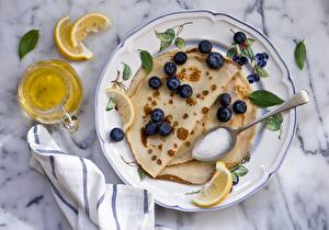 Picture Pancake Blueberries Plate Oil Spoon Food
