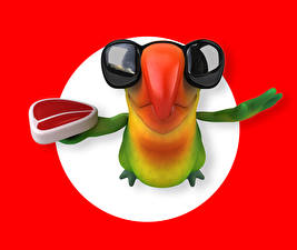 Photo Parrots Glasses Beak Red background 3D Graphics