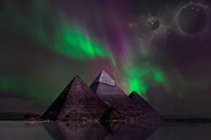 Bureaubladachtergronden Planeten Piramide Nacht Poollicht Fantasy