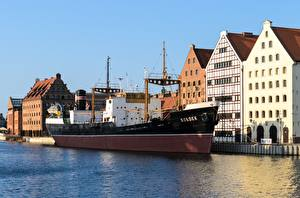 Picture Poland Gdańsk Houses Pier Ship