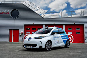 Sfondi desktop Renault Taxi - Auto Bianco 2018 Zoe Robot Taxi Experimentation Vehicle macchina