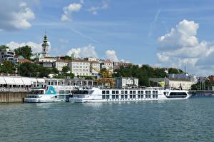 Pictures River Riverboat Building Marinas Belgrade Serbia Danube Cities