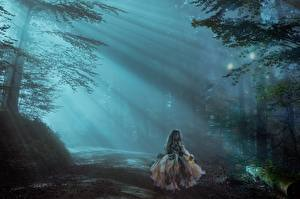 Picture Roads Forests Little girls Fog Rays of light Fantasy