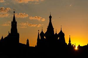 Images Moscow Russia Sunrises and sunsets Moscow Kremlin Silhouette Cities