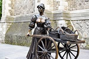 壁纸、、彫刻、アイルランド、ダブリン、籠、Statue of Molly Malone, Grafton street、都市