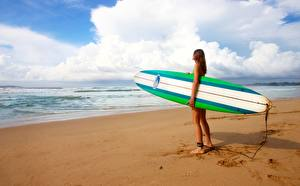Image Sea Surfing Beaches Sand athletic Girls