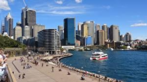 Fotos Wolkenkratzer Australien Schiffe Waterfront Sydney Bucht Städte