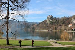 Wallpapers Slovenia Autumn Castles Lake Trees Rock Bled castle, Lake Bled
