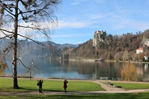 Fotos Slowenien Herbst Burg See Bäume Felsen Bled castle, Lake Bled Natur