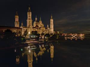 Fotos Spanien Gebäude Fluss Nacht Zaragoza Städte